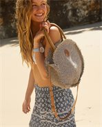 Navy Beach Round Bag