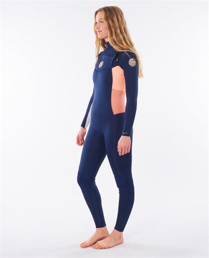 Women Dawn Patrol 4/3 Chest Zip Hooded Wetsuit