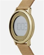 Daybreak Digital Gold Leather Watch