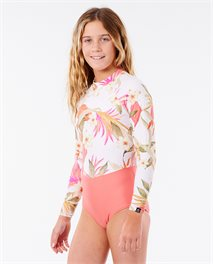 Costume intero da surf Girls Back Zip Long Sleeve