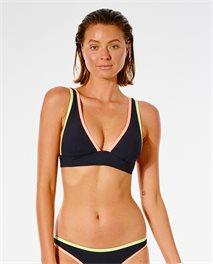 Parte de arriba de bikini con cuello halter Twin Fin Solid con escote pronunciado en V